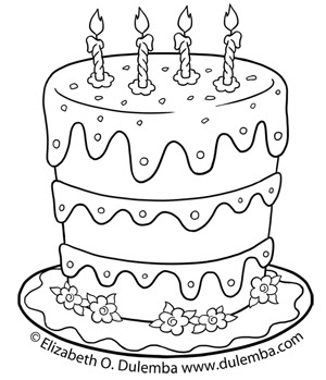 dulemba: Coloring Page Tuesdays - Birthday Cake for 5th ...