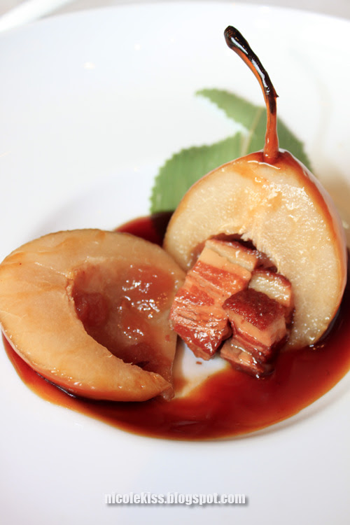 caramerilized pear with pork belly