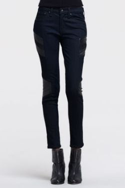 Rag and Bone/JEAN Halifax Leather-Panel Motocross Jeans
