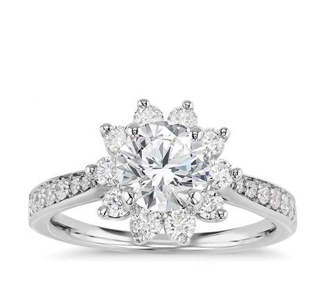 Starburst Floral Diamond Halo Engagement Ring in 14k White