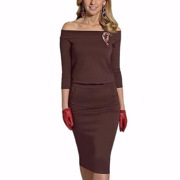 Dress Plain Off Bodycon Patchwork Fitted Shoulder websites tommy