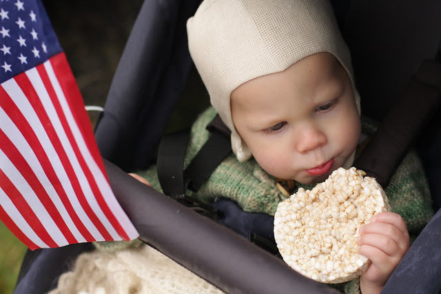 Rice cakes to try to keep him in the stroller for the parade (b/c we don't ever use strollers)