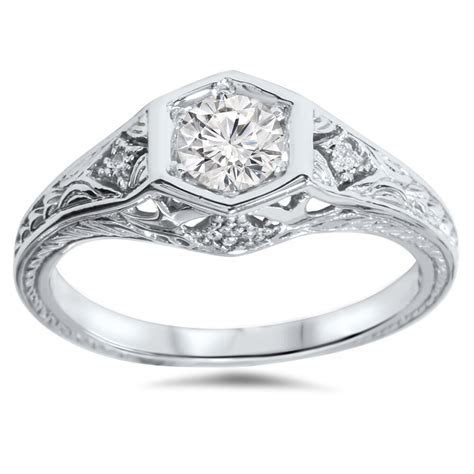 3/8ct Art Deco Diamond Engagement Ring 14K White Gold   eBay