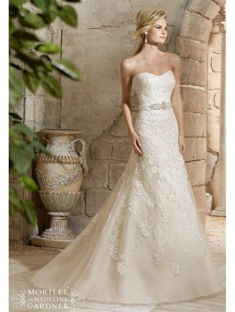 Mori Lee 2781 Strapless Lace Wedding Dress With Crystal