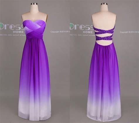 Purple Ombre Chiffon Long Bridesmaid Dress/Ombre