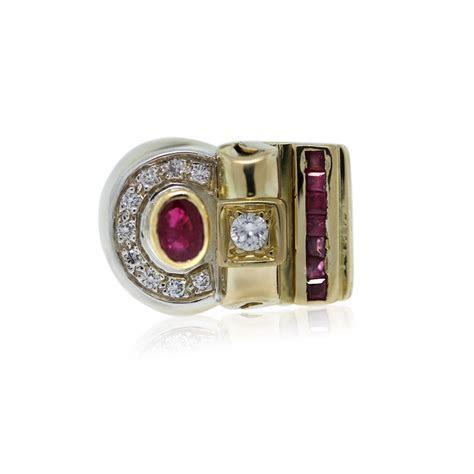 14k Yellow Gold Diamond and Ruby Mens Ring Boca Raton
