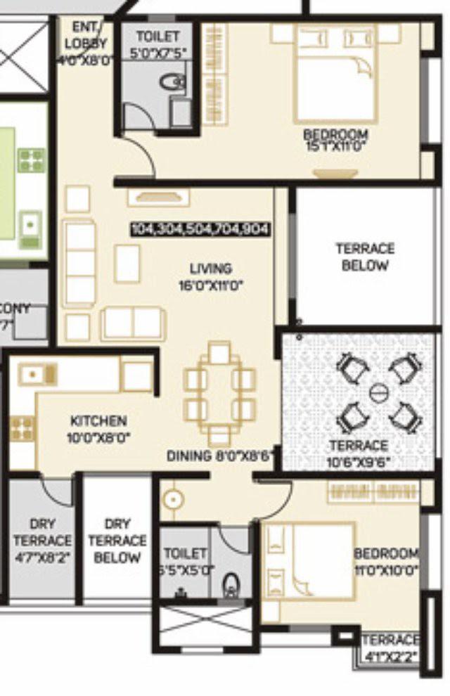 Pate Developers Kimaya Bibwewadi 2 BHK Flats (A104) 763 sq.ft. Carpet + 146 sq.ft. Terrace For Rs. 69.06 Lakhs