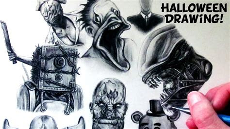 halloween drawing horror game characters fan art time