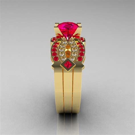 Classic 14K Yellow Gold Ruby Diamond Solitaire Ring Double