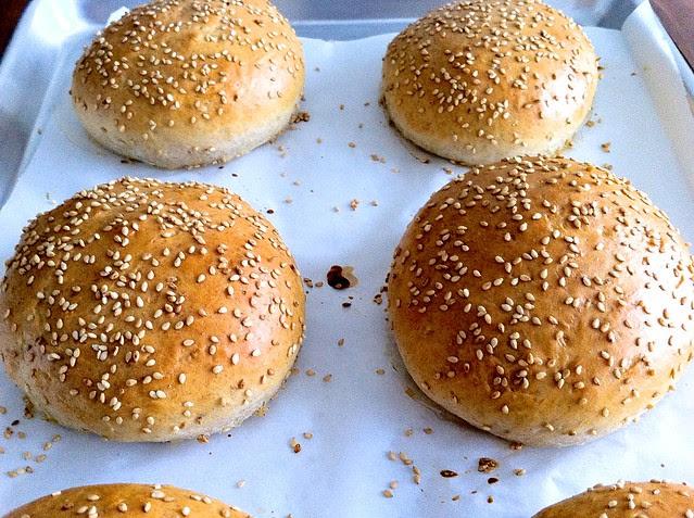 Homemade Hamburger Buns Closeup