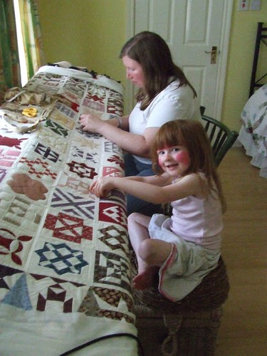 Mommy and Aine Quilting Together