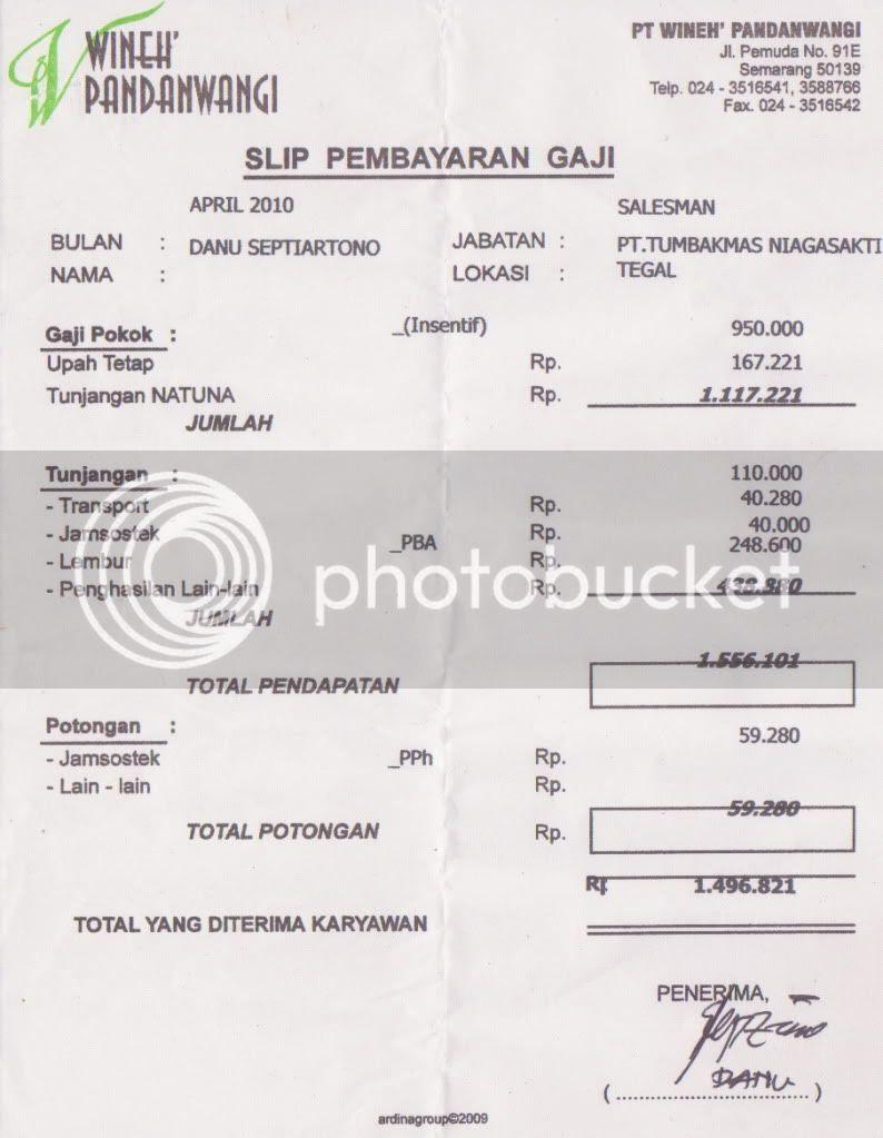 Contoh Slip Gaji Bulanan Karyawan Swasta - Contoh Two