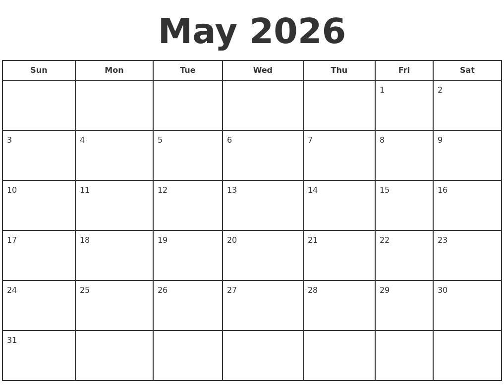 may 2026 print a calendar