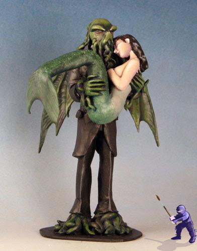 Cthulhu and Mermaid Wedding Cake Topper