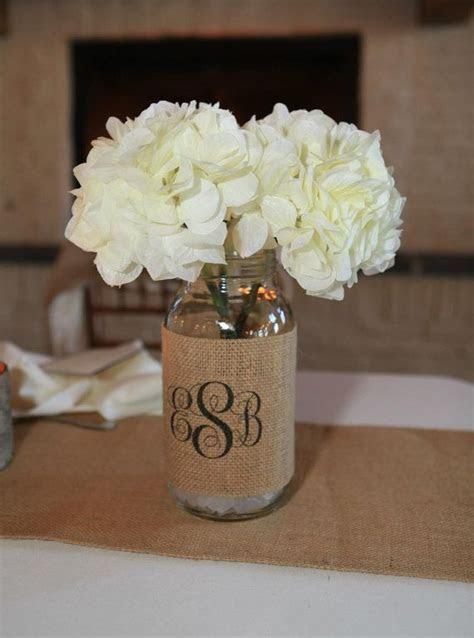 Monogram Burlap Mason Jar Sleeve   Wedding Table