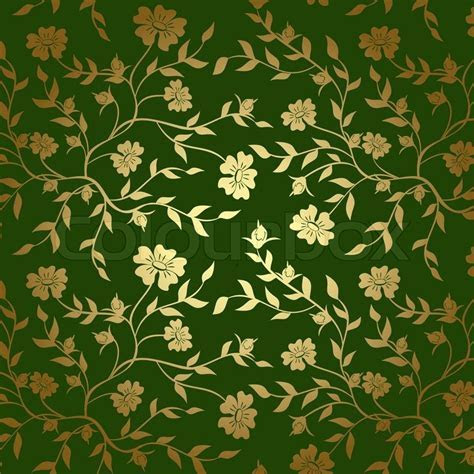Green and gold floral texture for background   Stock Photo