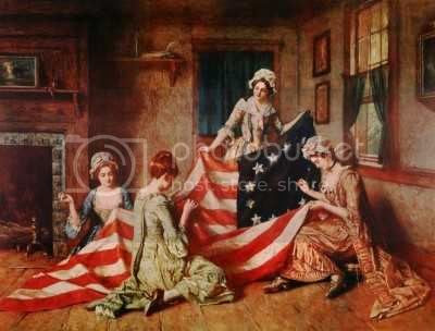 Pickersgill sewing the flag with her helpers