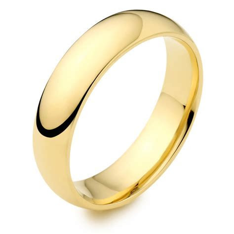 Men's 18ct yellow Gold 8mm D shape Wedding Ring