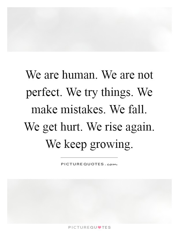 We Are Human We Are Not Perfect We Try Things We Make