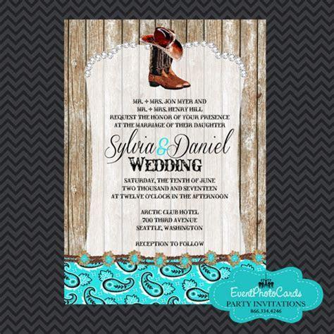 Western Boots Aqua Wedding Invitations , Wedding Announcements