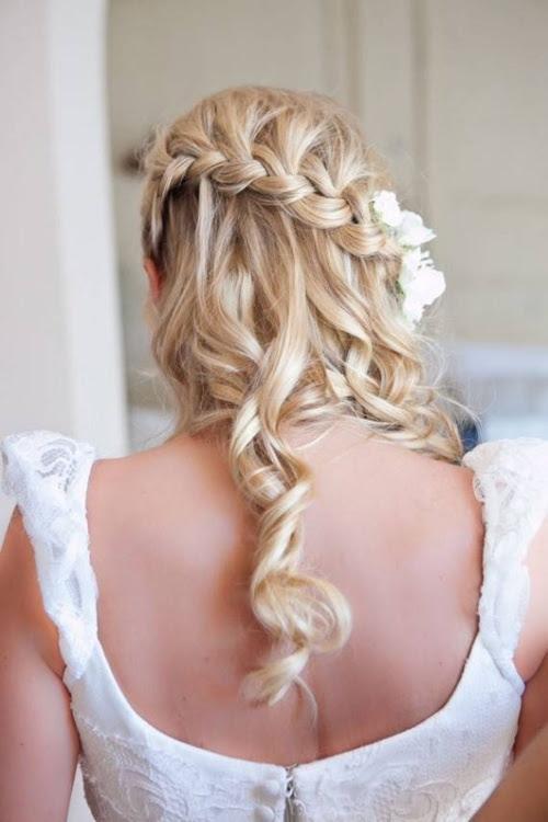 Half Up Half Down Wedding  Hairstyle  Waterfall Braid