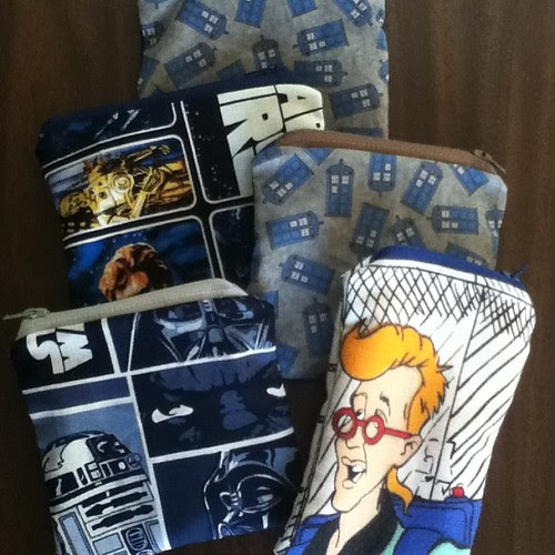 Today's finished pouches! They just need to be ironed and priced for ConBravo!  #conprep #DoctorWho #StarWars #ghostbusters