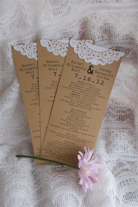 Custom Vintage Lace Doily Wedding Programs Or Menus  Save