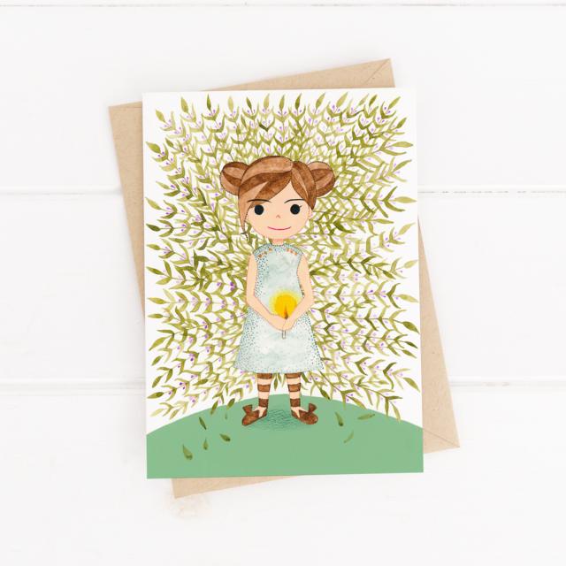 希望の光と女の子と紫の花 Little Gril And Flower イラスト ポスト