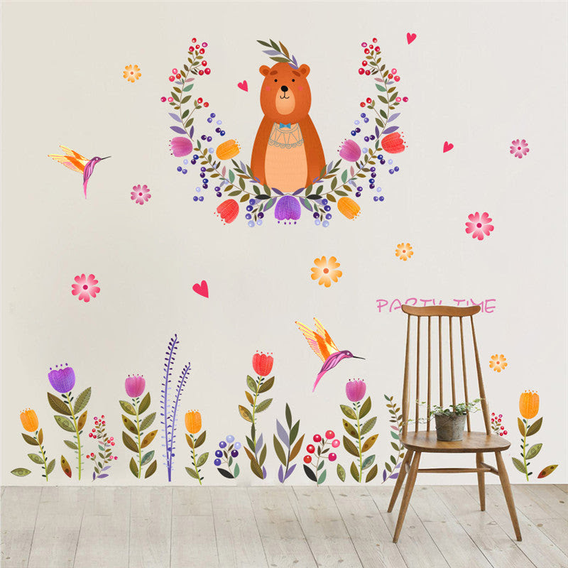Cartoon Bear Flower Wall Stickers For Kids Rooms Kindergarten