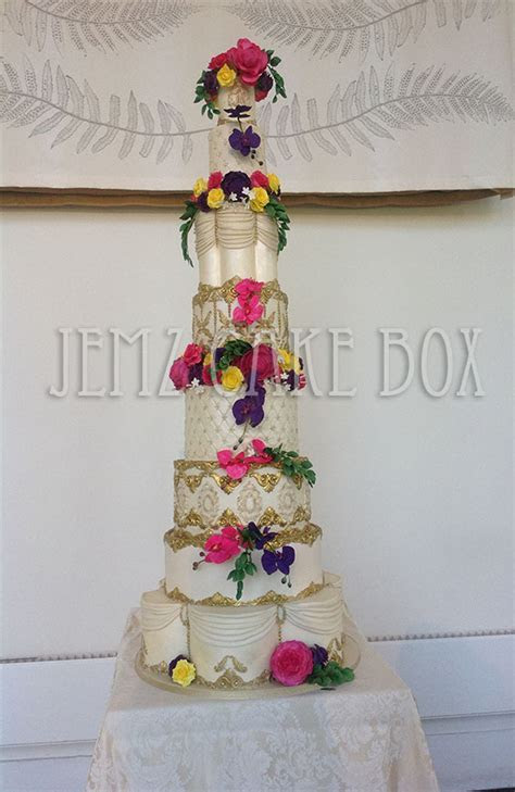 Baroque Themed 6 Foot Ivory and Gold Wedding Cake   Jemz