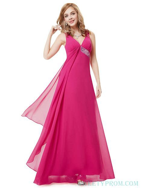 V Neck Empire Sexy Hot Pink Bridesmaid Dresses Vintage