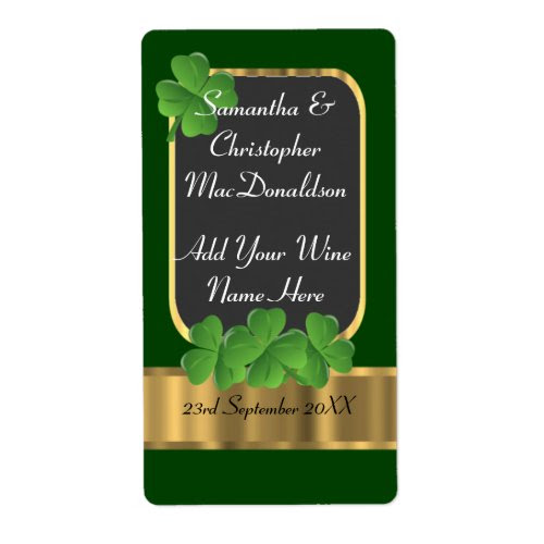 Irish Shamrock Green and Gold Wedding Wine Bottle Label