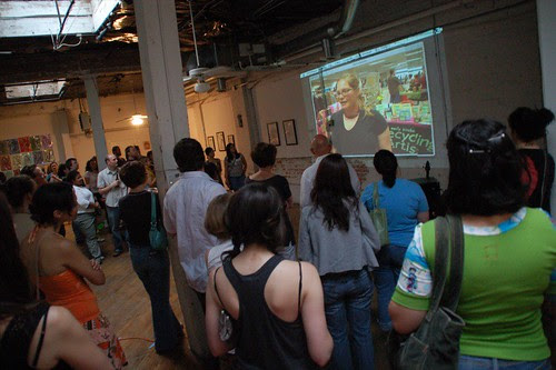 Watching the Handmade Nation trailer at the pre-party for Indie Craft Experience