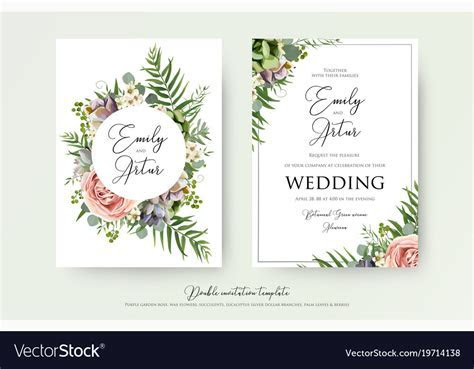 Elegant floral wedding invitation card design Vector Image