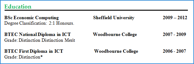 cv education training section