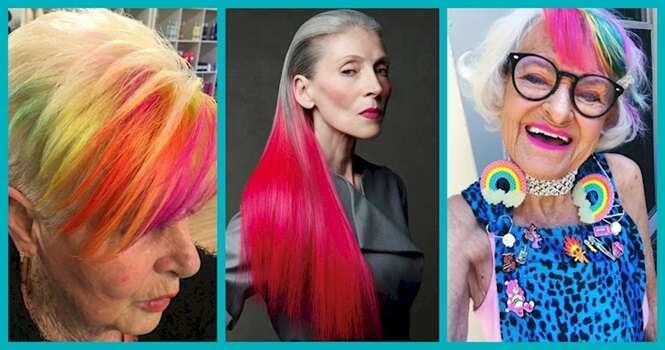 Mulheres provando que cabelo colorido fica bem em qualquer idade
