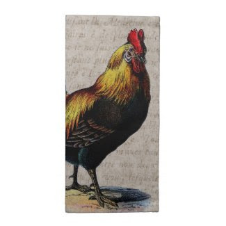 Vintage Rooster and Antique Text Collage - Custom Printed Napkin