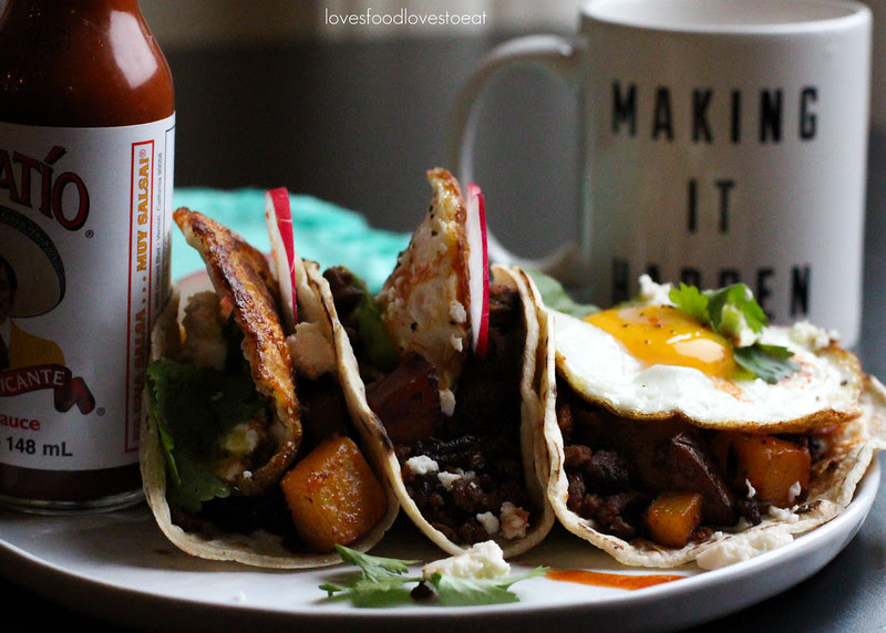 Breakfast Tacos with Chorizo and Fried Eggs // Loves Food, Loves to Eat