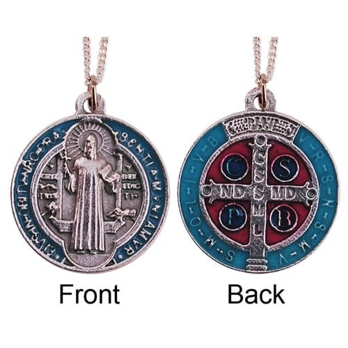 Silver and Blue Enameled St. Benedict Medal and Chain and Medal