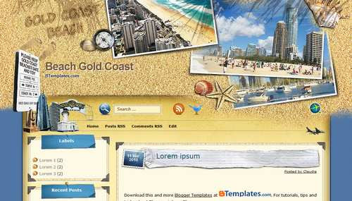 """Beach Gold Coast"" Travel Blog Templates Free + Cool Design"