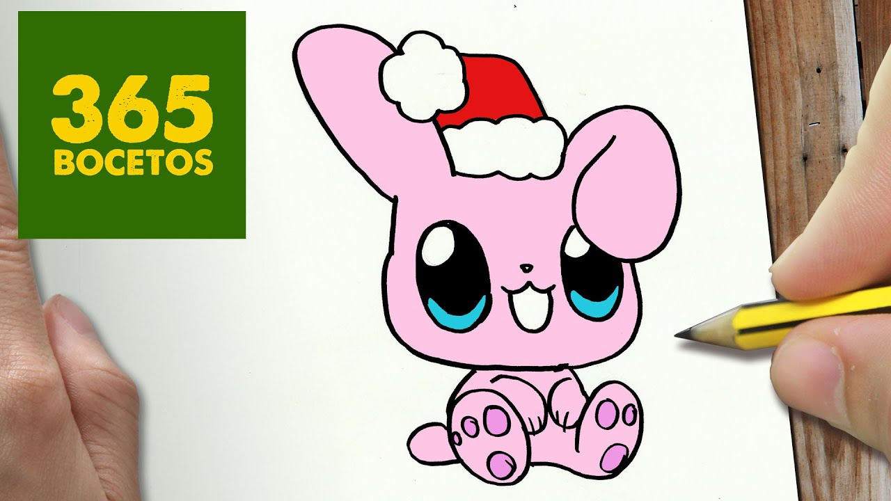 Como Dibujar Un Conejo Para Navidad Paso A Paso Dibujos Kawaii