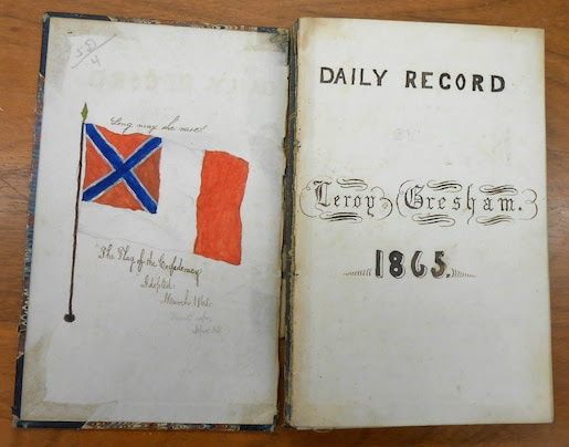 (Michael Ruane/ THE WASHINGTON POST ) - A little-known diary of invalid teenager, LeRoy Wiley Gresham, who chronicled the Civil War, and his own ailments, from his home in Macon, Ga. He wrote seven volumes that cover from June 1860 to June 9, 1865. He died June 18, 1865 at age 17. The library said the diary apparently never been published.