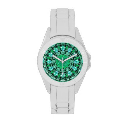 Emerald Crystals Mandala, Abstract Mint Green Watches