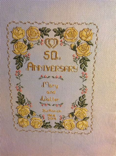 Walter and Mary's golden wedding sampler x   Cross Stitch