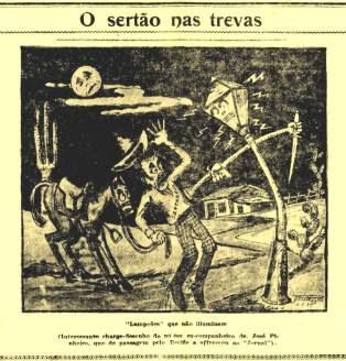 Uma caricatura apresenta o medo do sertanejo em relação ao cangaço