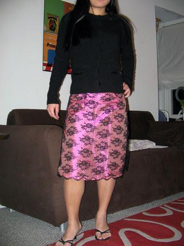 Pink lingerie skirt modeled