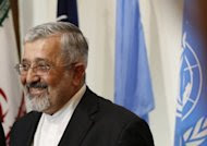 """Iran's envoy to the International Atomic Energy Agency (IAEA), Ali Asghar Soltanieh, delivers a speech following talks at the Iranian permanent mission to the United Nations and other international organisations in Vienna on August 24. Iran """"will never stop"""" its controversial uranium enrichment, Soltanieh said Tuesday, on the sidelines of a Non-Aligned Movement ministerial meeting in Tehran. (AFP Photo/Alexander Klein)"""