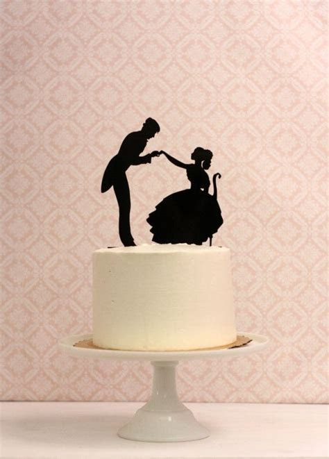 Wedding Cake Topper with Silhouettes   We Do   Victorian