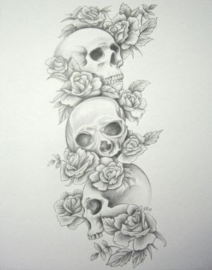 Amazing Art Of Tattoo Rose Tattoo Combination With Skull Tattoo