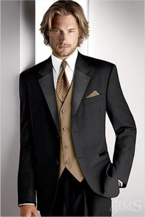 Black suit with tan vest and tie. #wedding   Tuxedos